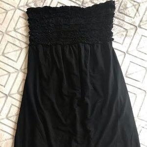 Black strapless swim coverup